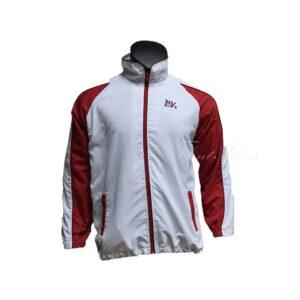 紅白撞色企領風褸外套 -01