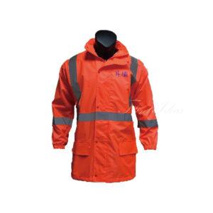 橙色反光條防水風褸外套 -01