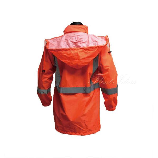 橙色反光條防水風褸外套 -03